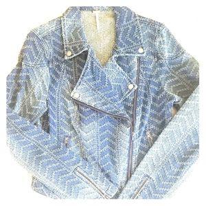 Free People Asymmetrical Zip front Denim Jacket 10